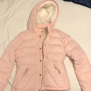 Pink Sherpa Lined Hollister Puffer Jacket